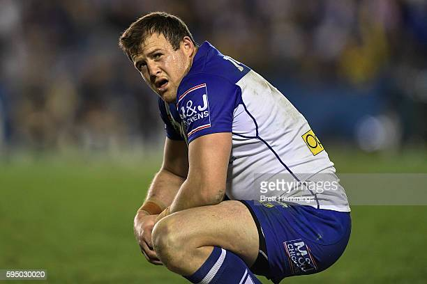 Josh Morris of the Bulldogs looks on during the round 25 NRL match between the Canterbury Bulldogs and the North Queensland Cowboys at Belmore Sports...