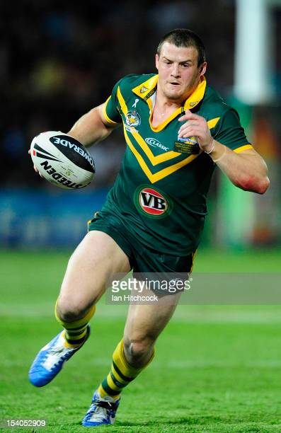 Josh Morris of the Kangaroos runs the ball during the International Test match between the Australian Kangaroos and the New Zealand Kiwis at Dairy...