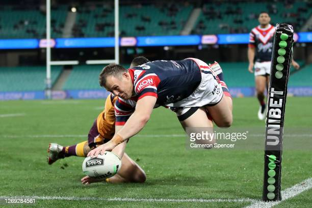 Josh Morris of the Roosters scores a try during the round 16 NRL match between the Sydney Roosters and the Brisbane Broncos at the Sydney Cricket...