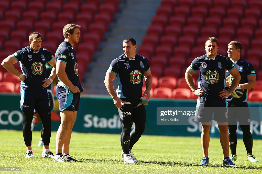 Josh Morris, Ryan Hoffman, Paul Gallen, Josh Reynolds and Greg Bird prepare for a New South Wales Blues State of Origin training session at Suncorp stadium on June 25, 2013 in Brisbane, Australia.