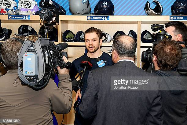 Josh Morrissey of the Winnipeg Jets answers questions from the media following a 40 shutout victory over the Chicago Blackhawks at the MTS Centre on...