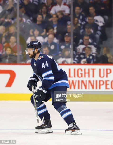 Josh Morrissey of the Winnipeg Jets follows the play down the ice during first period action against the Montreal Canadiens at the Bell MTS Place on...