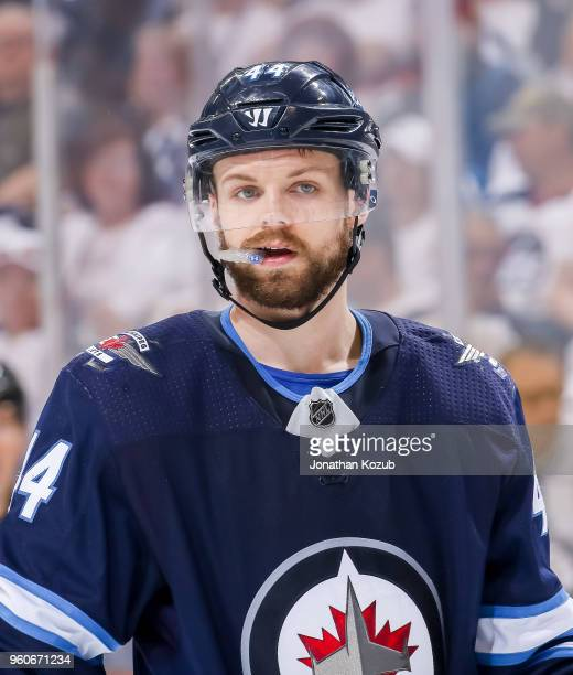 Josh Morrissey of the Winnipeg Jets looks on during a third period stoppage in play against the Vegas Golden Knights in Game Five of the Western...