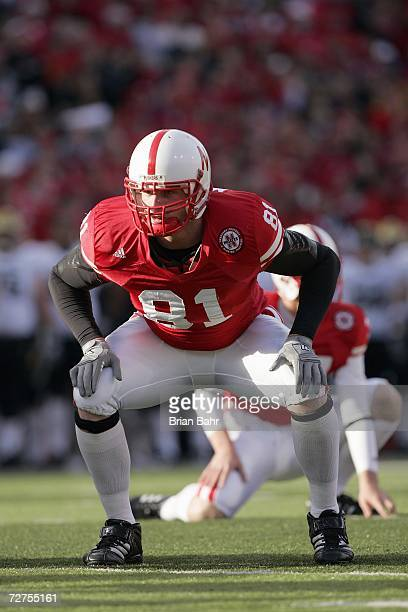 Josh Mueller of the Nebraska Cornhuskers gets ready to move at the snap during the game against the Colorado Buffaloes on November 24 2006 at...