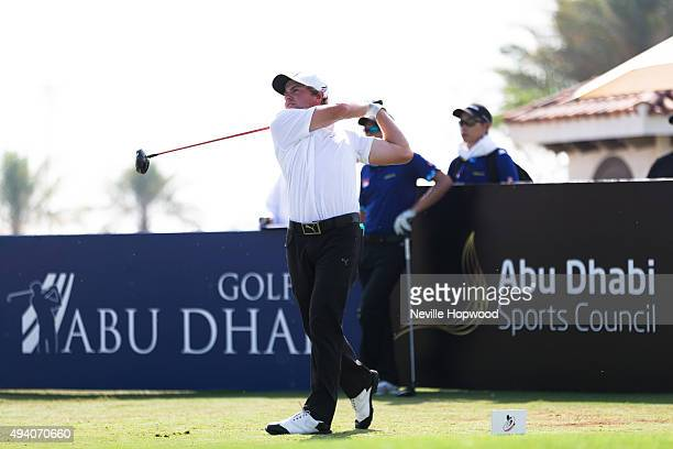Josh Munn from New Zealand tees off from the 1st Action from the third round of the 27th Nomura Cup/AsiaPacific Amateur Golf Team Championship at Yas...