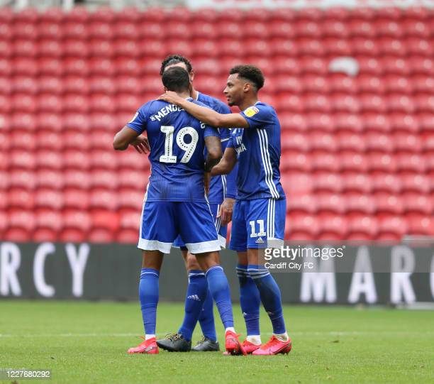 Josh Murphy and Cardiff City FC during the Sky Bet Championship match between Middlesbrough and Cardiff City at Riverside Stadium on July 18 2020 in...