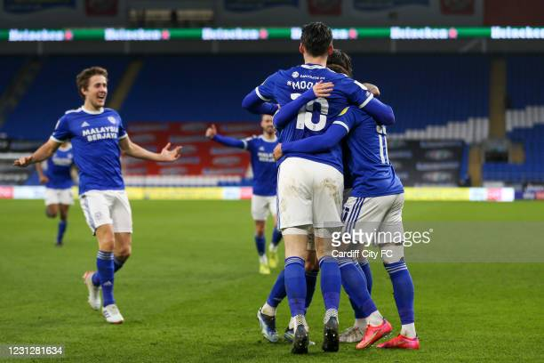 Josh Murphy celebrates the second goal for Cardiff City FC during the Sky Bet Championship match between Cardiff City and Preston North End at...