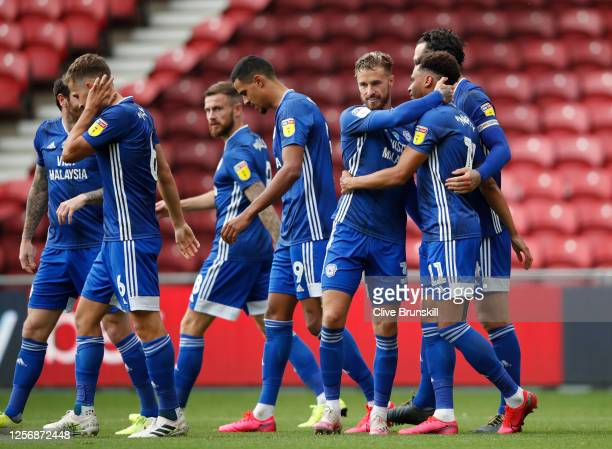 Josh Murphy of Cardiff City celebrates with his team after scoring his team's second goal during the Sky Bet Championship match between Middlesbrough...
