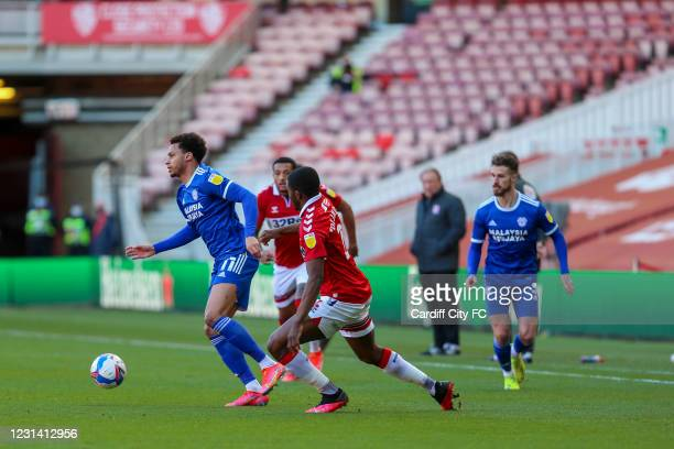 Josh Murphy of Cardiff City FC during the Sky Bet Championship match between Middlesbrough and Cardiff City at Riverside Stadium on February 27, 2021...
