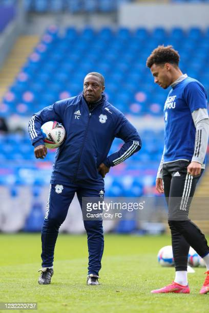 Josh Murphy of Cardiff City FC warming up before the Sky Bet Championship match between Cardiff City and Blackburn Rovers at Cardiff City Stadium on...