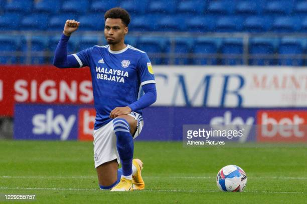 Josh Murphy of Cardiff City raises his fist before kick off during the Sky Bet Championship match between Cardiff City and Middlesbrough at the...