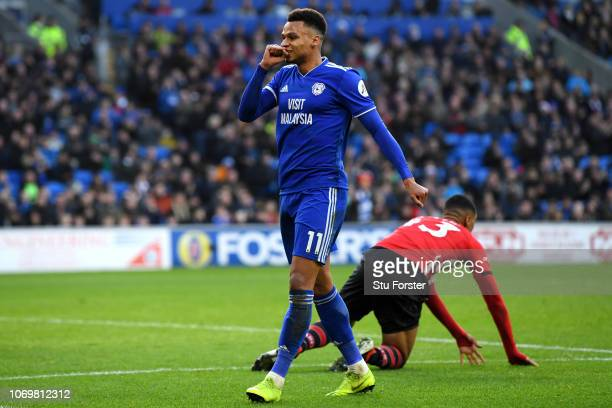 Josh Murphy of Cardiff City reacts after missing a chance during the Premier League match between Cardiff City and Southampton FC at Cardiff City...