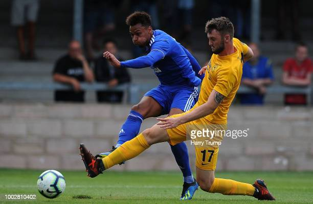 Josh Murphy of Cardiff City scores his sides first goal during the PreSeason Friendly match between Torquay United and Cardiff City at Plainmoor...