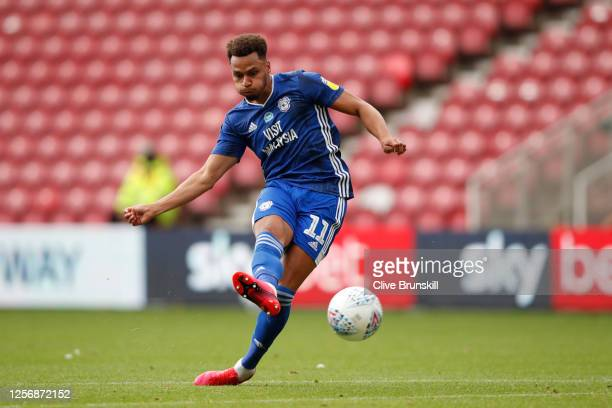 Josh Murphy of Cardiff City scores his team's second goal during the Sky Bet Championship match between Middlesbrough and Cardiff City at Riverside...
