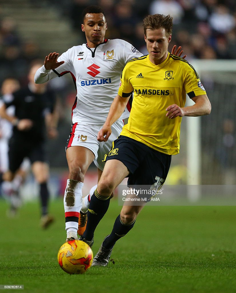 Josh Murphy of MK Dons and Tomas Kalas of Middlesbrough during the Sky Bet Championship match between MK Dons and Middlesbrough at Stadium mk on February 9, 2016 in Milton Keynes, England.