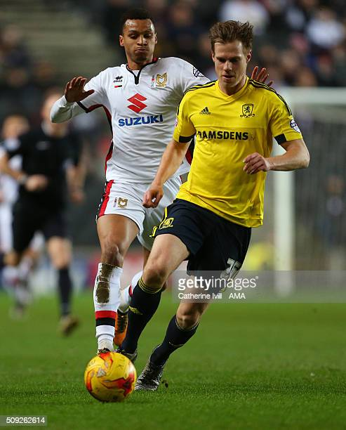Josh Murphy of MK Dons and Tomas Kalas of Middlesbrough during the Sky Bet Championship match between MK Dons and Middlesbrough at Stadium mk on...