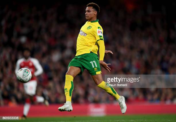 Josh Murphy of Norwich City scores his sides first goal during the Carabao Cup Fourth Round match between Arsenal and Norwich City at Emirates...