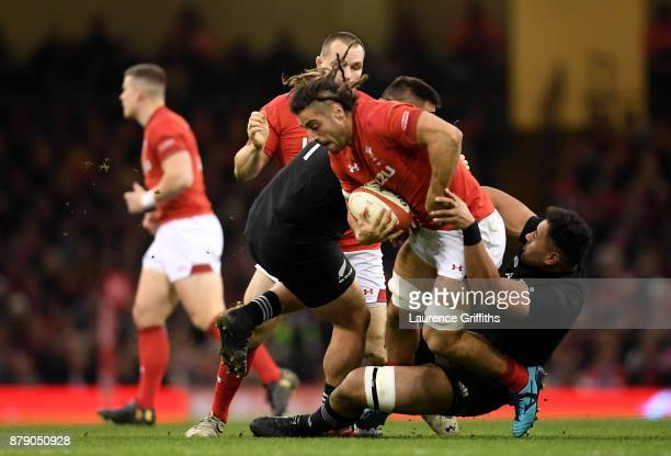 Josh Navidi of Wales breaks during the International match between Wales and New Zealand at Principality Stadium on November 25 2017 in Cardiff Wales