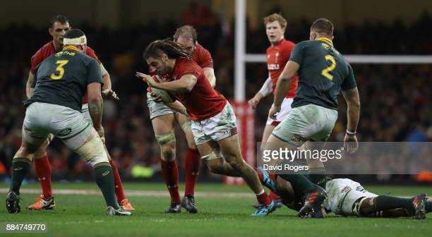 Josh Navidi of Wales breaks with the ball during the rugby union international match between Wales and South Africa at the Principality Stadium on...