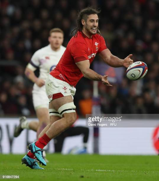 Josh Navidi of Wales passes the ball during the NatWest Six Nations match between England and Wales at Twickenham Stadium on February 10 2018 in...