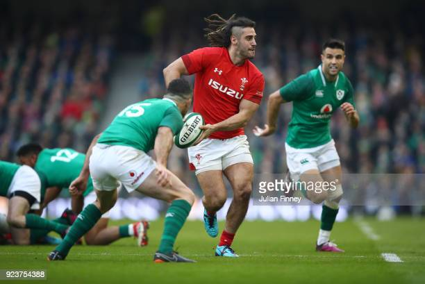 Josh Navidi of Wales prepares to pass during the NatWest Six Nations match between Ireland and Wales at Aviva Stadium on February 24 2018 in Dublin...