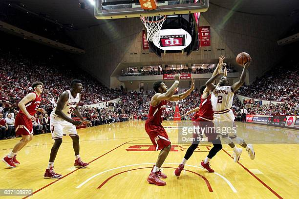 Josh Newkirk of the Indiana Hoosiers attempts a layup in the second half against the Nebraska Cornhuskers at Assembly Hall on December 28 2016 in...