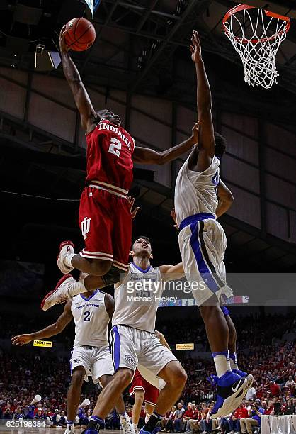 Josh Newkirk of the Indiana Hoosiers goes up for the shot against Brent Calhoun of the Fort Wayne Mastodons at Memorial Coliseum on November 22 2016...