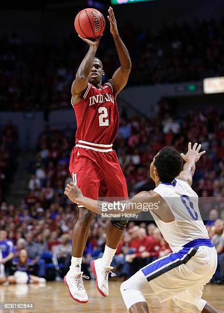 Josh Newkirk of the Indiana Hoosiers shoots the ball against the Fort Wayne Mastodons at Memorial Coliseum on November 22 2016 in Ft Wayne Indiana