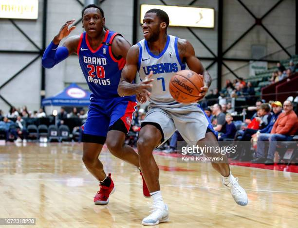 Josh Newkirk of the Texas Legends drives to the basket agains the Grand Rapids Drive on December 12 2018 at DeltaPlex Arena in Grand Rapids Michigan...