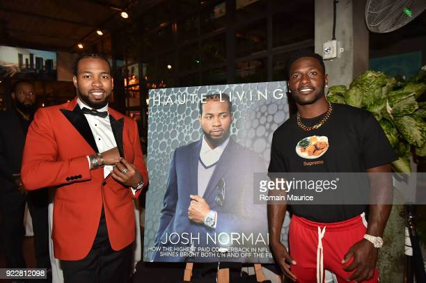 Josh Norman and Antonio Brown attend Haute Living and One Thousand Museum celebrate cover star Josh Norman at Kiki on the River on February 21 2018...