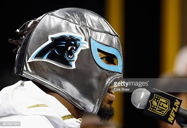 Josh Norman of the Carolina Panthers addresses the media at Super Bowl Opening Night Fueled by Gatorade at SAP Center on February 1 2016 in San Jose...