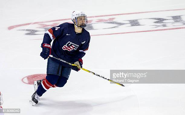 Josh Norris of the US National Under18 Team skates against the Boston University Terriers during NCAA exhibition hockey at Agganis Arena on October 6...