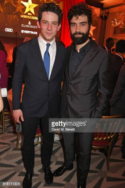 Josh O'Connor and Alec Secareanu attend the London Evening Standard British Film Awards 2018 at Claridge's Hotel on February 8 2018 in London England
