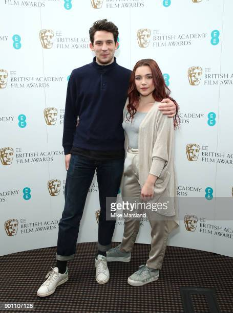 Josh O'Connor and Florence Pugh during the EE Rising Star Nominations announcement held at BAFTA on January 4 2018 in London England