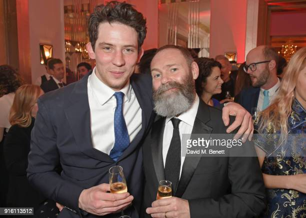 Josh O'Connor and Francis Lee attend a drinks reception at the London Evening Standard British Film Awards 2018 at Claridge's Hotel on February 8...
