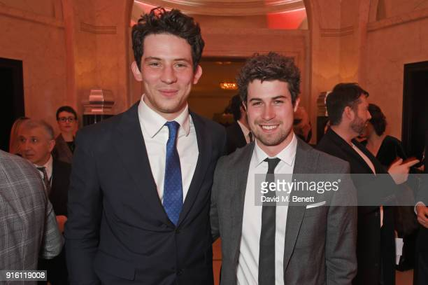 Josh O'Connor and Mike Gilbert attend a drinks reception at the London Evening Standard British Film Awards 2018 at Claridge's Hotel on February 8...