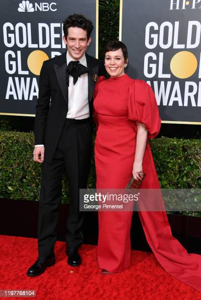 Josh O'Connor and Olivia Colman attend the 77th Annual Golden Globe Awards at The Beverly Hilton Hotel on January 05 2020 in Beverly Hills California