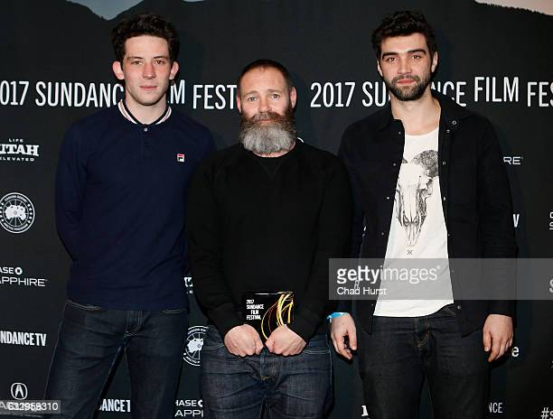 Josh O'Connor Francis Lee and Alec Secareanu pose with World Cinema Dramatic Special Directing Award for the film 'God's Own Country' during the 2017...