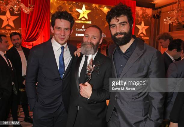 Josh O'Connor Francis Lee and Alec Secareanu winners of the Best Film award for 'God's Own Country' attend the London Evening Standard British Film...