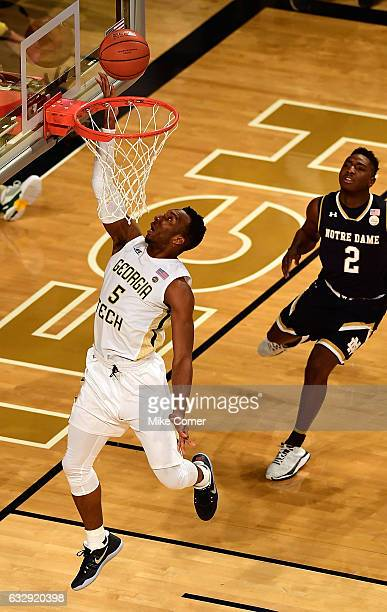 Josh Okogie of the Georgia Tech Yellow Jackets makes the game-winning layup against the Notre Dame Fighting Irish as time expires during the...