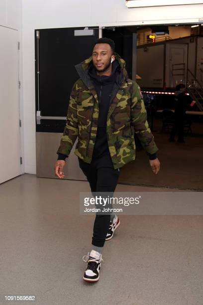 Josh Okogie of the Minnesota Timberwolves arrives before the game against the Memphis Grizzlies on January 30 2019 at Target Center in Minneapolis...