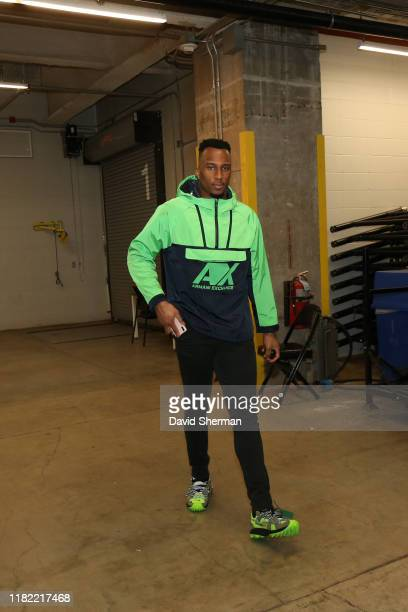 Josh Okogie of the Minnesota Timberwolves arrives prior to a game against the San Antonio Spurs on November 13, 2019 at Target Center in Minneapolis,...