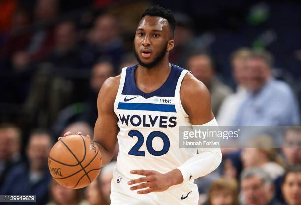 Josh Okogie of the Minnesota Timberwolves dribbles the ball against the Portland Trail Blazers during the game on April 1, 2019 at the Target Center...