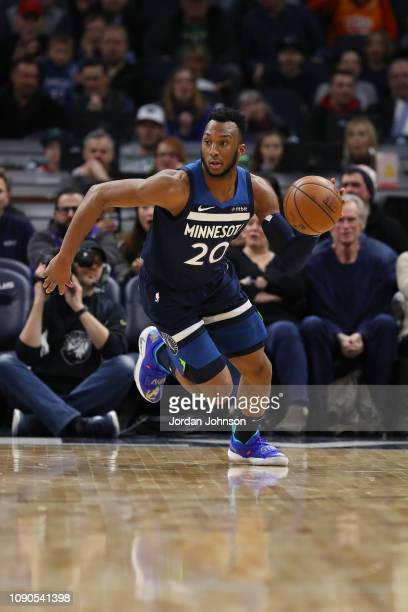 Josh Okogie of the Minnesota Timberwolves dribbles the ball during the game against the Utah Jazz on January 27, 2019 at Target Center in...
