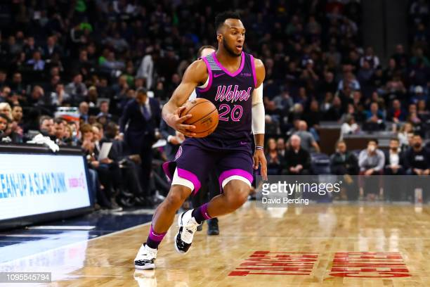 Josh Okogie of the Minnesota Timberwolves dribbles the ball in the third quarter against the Dallas Mavericks at Target Center on January 11, 2019 in...