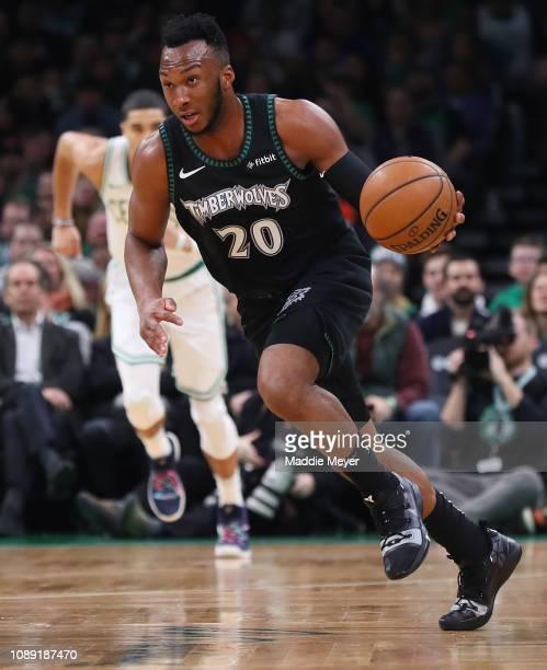 Josh Okogie of the Minnesota Timberwolves drives against the Boston Celtics at TD Garden on January 02, 2019 in Boston, Massachusetts. NOTE TO USER:...