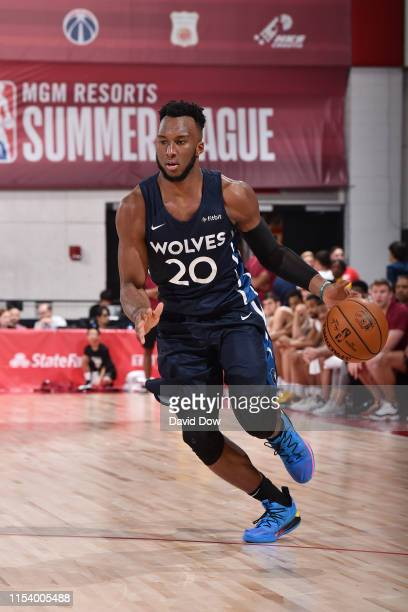 Josh Okogie of the Minnesota Timberwolves drives to the basket during the game against the Cleveland Cavaliers during Day 1 of the 2019 Las Vegas...