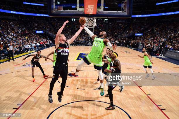 Josh Okogie of the Minnesota Timberwolves drives to the basket during the game against the Minnesota Timberwolves on February 23, 2020 at the Pepsi...