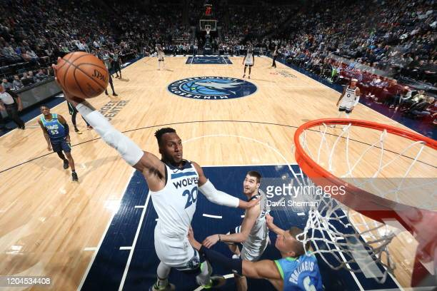 Josh Okogie of the Minnesota Timberwolves drives to the basket during a game against the Dallas Mavericks on March 1, 2020 at Target Center in...