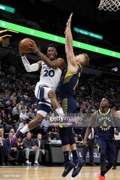 Josh Okogie of the Minnesota Timberwolves drives to the basket against the Indiana Pacers on October 22, 2018 at Target Center in Minneapolis,...